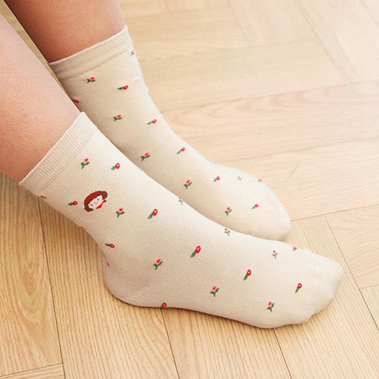 韓國GRACEBELL-女生的中筒襪07.駝色珍妮