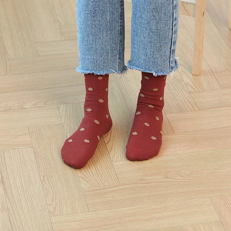 韓國GRACEBELL-女生的中筒襪08.紅色奇奇
