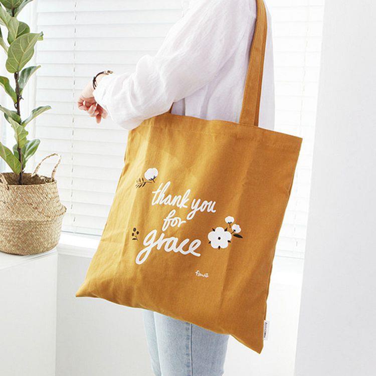 韓國GRACEBELL-Flower花朵純棉Eco bag-03.芥末黃