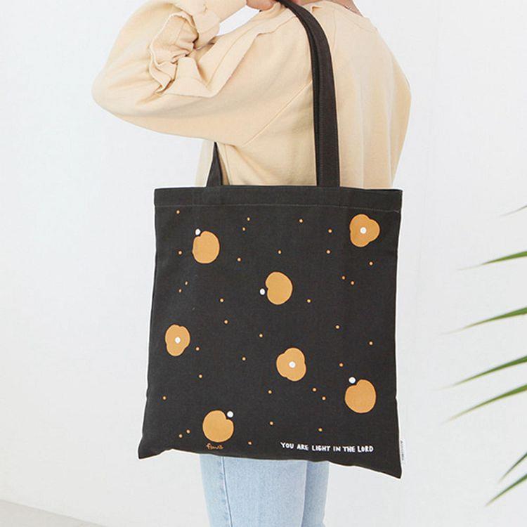 韓國GRACEBELL-Flower花朵純棉Eco bag-04.黑炭灰