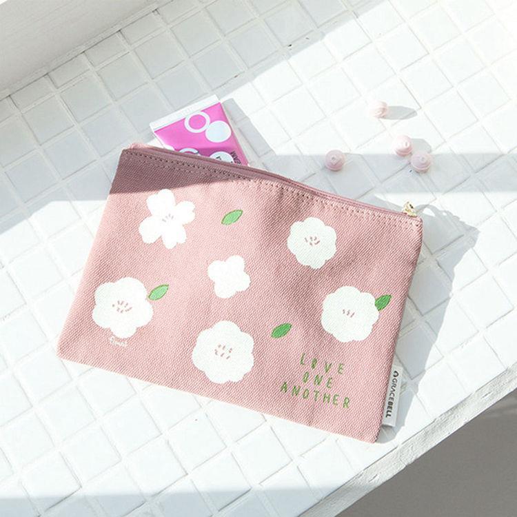 韓國GRACEBELL-Flower花朵純棉 01.大地粉 收納包