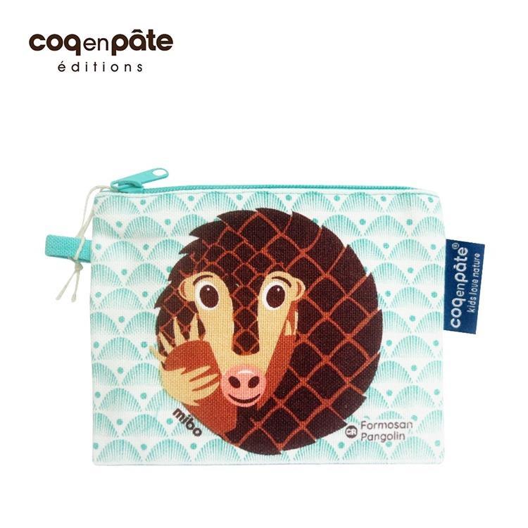 【虎兒寶】COQENPATE 法國有機棉無毒環保布包-零錢包 - 穿山甲