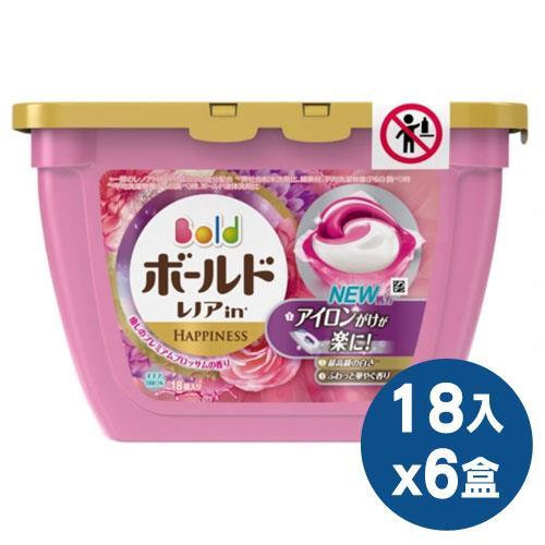 【日本境內P&G】Bold洗衣凝膠球18入盒裝6盒/箱 (牡丹香氛)
