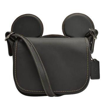 【COACH】迪士尼限量聯名款小牛皮米奇造型斜背包-黑(現貨+預購)