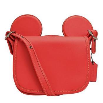 【COACH】迪士尼限量聯名款小牛皮米奇造型斜背包-紅(現貨+預購)