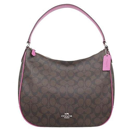 【COACH】弧形開口皮革飾邊單肩/手提包-咖啡紫桃(現貨+預購)