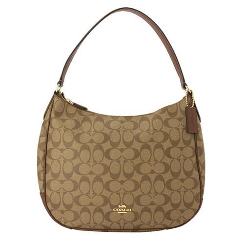 【COACH】弧形開口皮革飾邊單肩/手提包-卡其駝(現貨+預購)