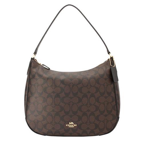 【COACH】弧形開口皮革飾邊單肩/手提包-咖啡(現貨+預購)