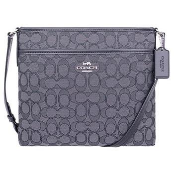 【COACH】織布皮革飾邊LOGO方形包-黑灰(現貨+預購)