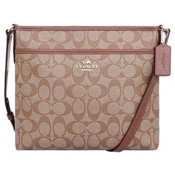 【COACH】織布皮革飾邊LOGO方形包-卡其咖啡(現貨+預購)