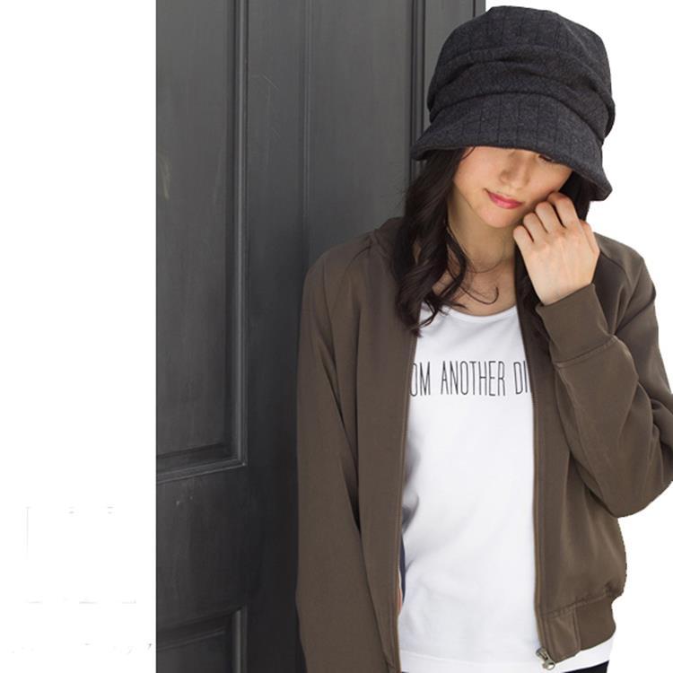 日本QUEENHEAD 抗寒抗UV羊毛保暖小顏帽(秋冬款083黑格紋色)