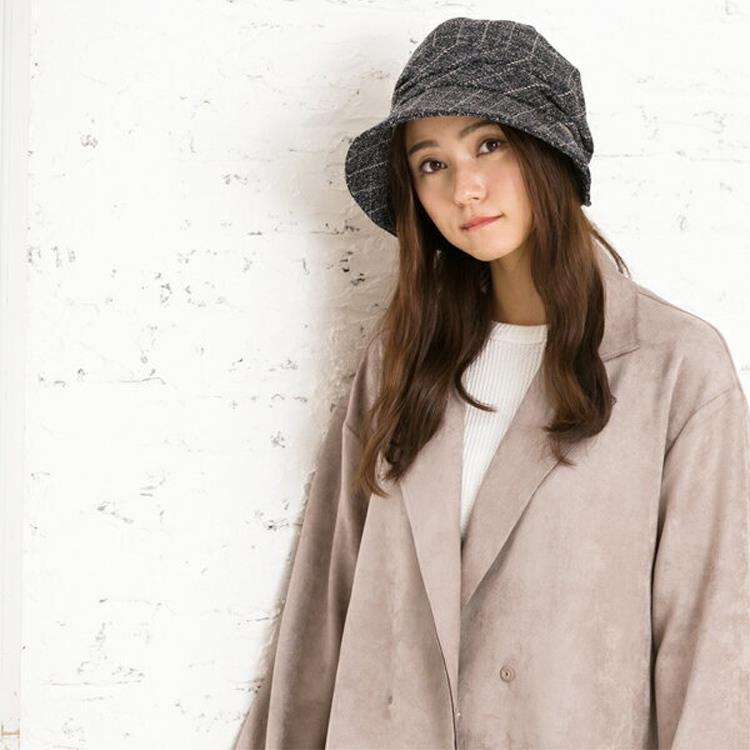 日本QUEENHEAD 抗寒抗UV羊毛保暖小顏帽(秋冬款083藍黑格色)