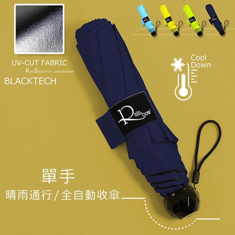 【收easy 傘】黑膠超防曬 / 單手自收傘 (深藍) / 雨傘UV傘陽傘防風傘自動傘折疊傘折傘加大