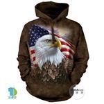 摩達客▶美國The Mountain 國旗獨立鷹 (預購)中性套頭長袖連帽T恤