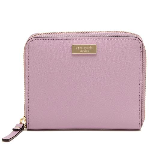 Kate Spade 防刮皮革ㄇ型拉鍊短夾-粉紫(現貨+預購)