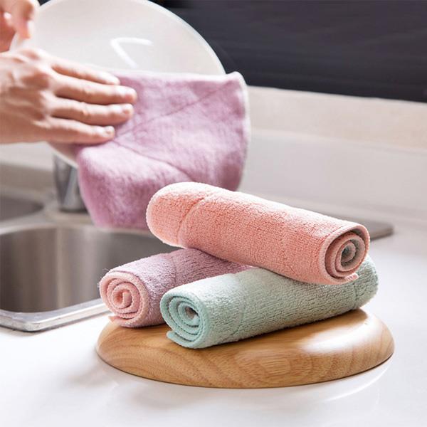 吸水加厚毛雙色毛巾 擦手巾 抹布-紫粉