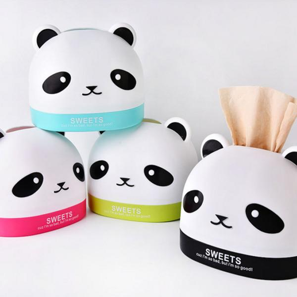 胖胖頭熊貓桌面紙巾抽 面紙盒(隨機出貨)