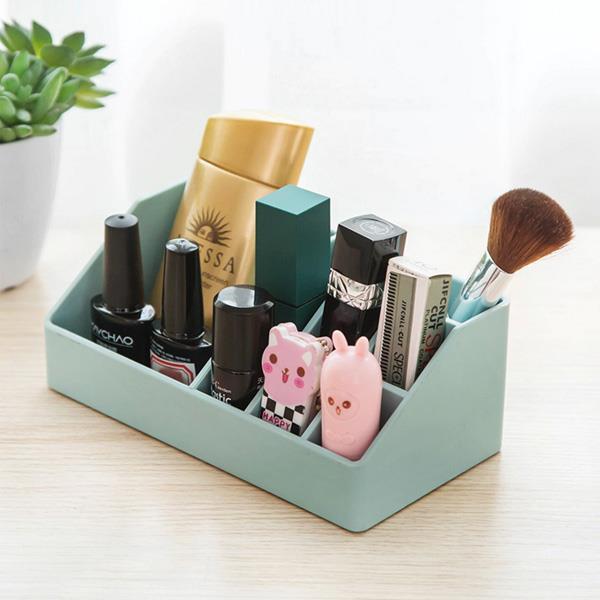 傾斜小9格桌面化妝品整理盒-藍