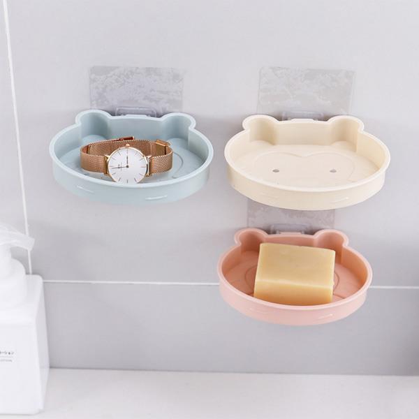 笑臉猴造型無痕肥皂架-米