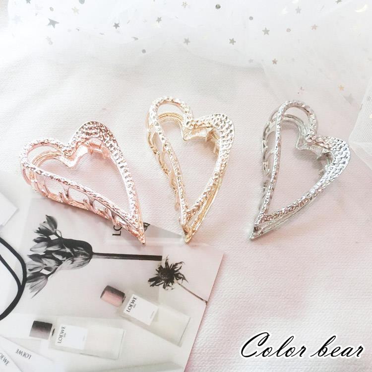 【卡樂熊】歐美極簡風愛心金屬造型爪夾/髮夾