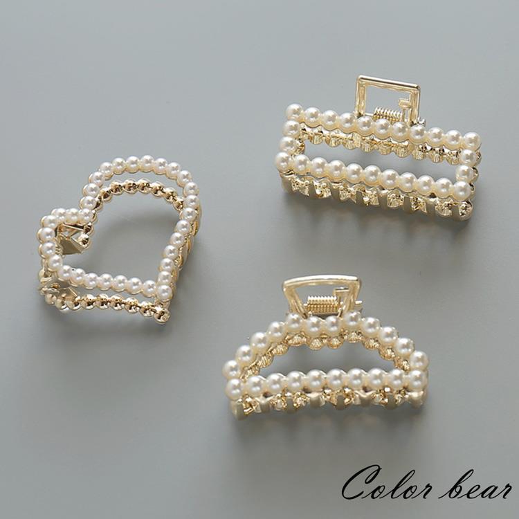 【卡樂熊】日韓氣質簡約珍珠水鑽髮夾/爪夾(四款)