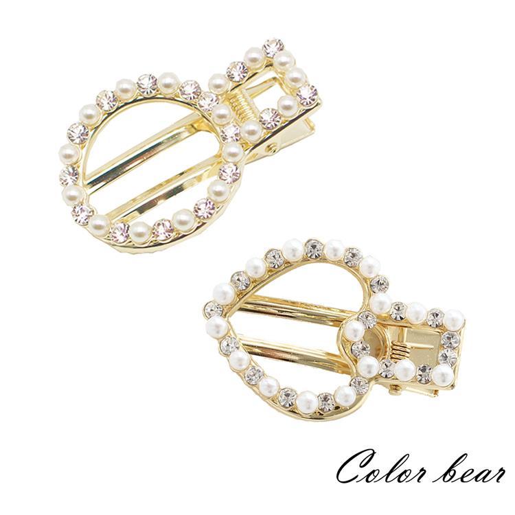 【卡樂熊】日韓百搭鏤空幾何珍珠水鑽造型髮夾/邊夾(兩款)