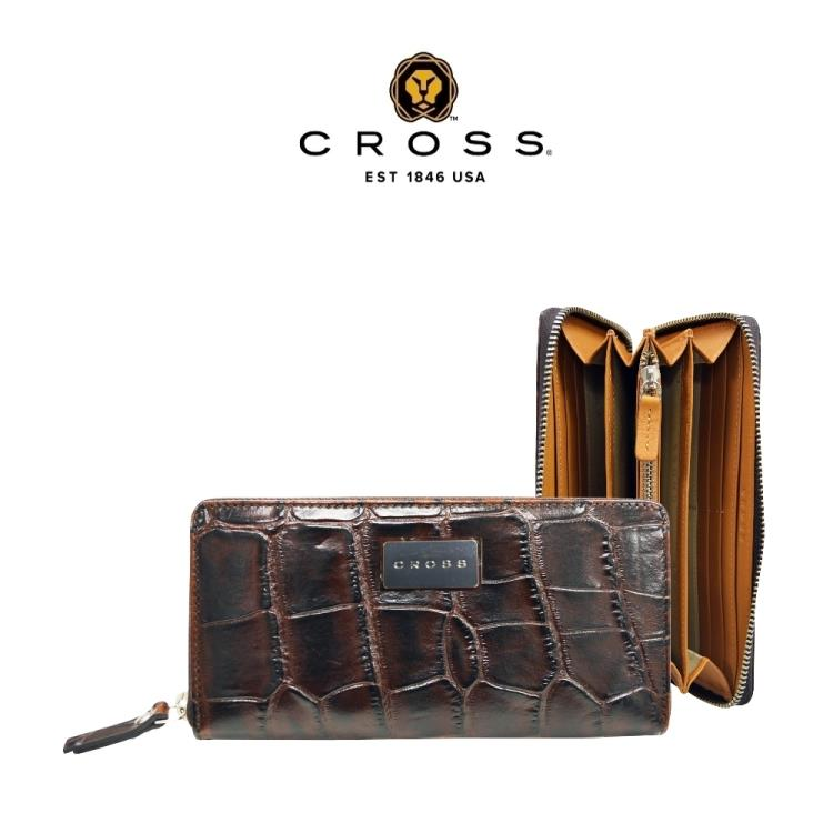 [CROSS] 經典頂級NAPPA小牛皮鱷魚壓紋長夾皮夾(咖啡色 專櫃展示品99%新)
