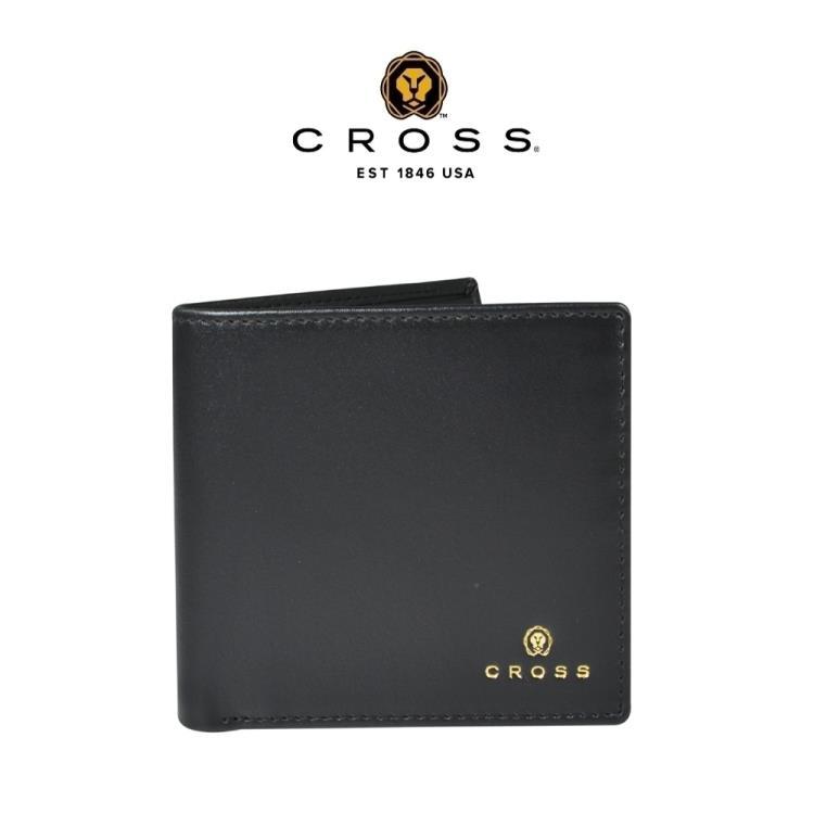 [CROSS] 頂級NAPPA小牛皮4卡1零錢袋男用皮夾(黑色 專櫃展示品99%新)