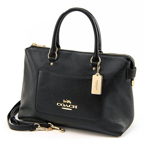COACH 荔枝皮革手提/肩背中型方包-黑(現貨+預購)