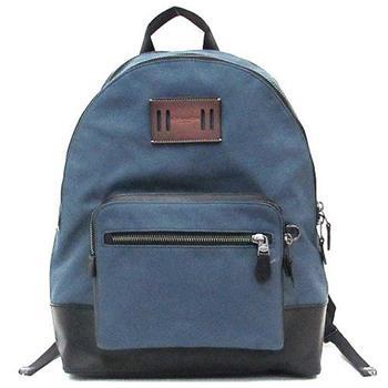 COACH 牛仔布拼接皮革多功能雙層後背包-藍(現貨+預購)