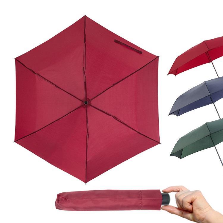 樂嫚妮 輕量三折雨傘-暗紅