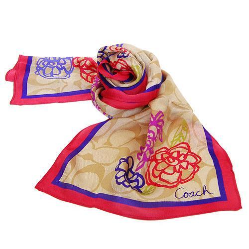 花朵線條桃藍框純絲絲巾-卡其桃/藍