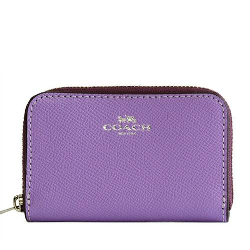 單層防刮皮革拉鍊零錢包-紫色
