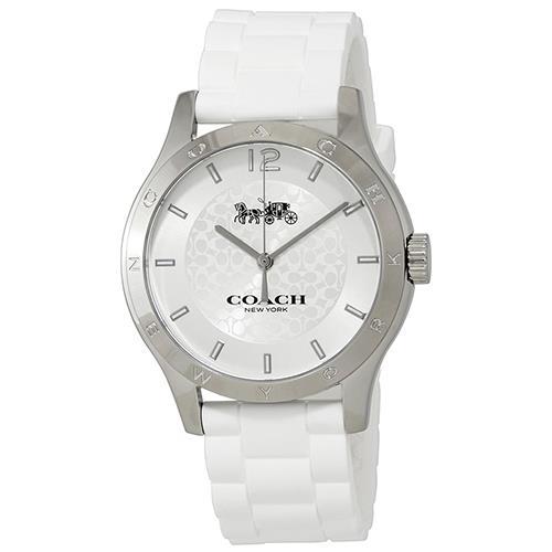 矽膠石英指針手錶-白
