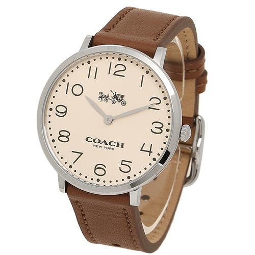 薄型真皮錶帶石英指針錶-駝色
