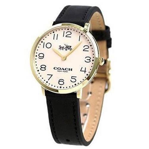 薄型真皮錶帶石英指針錶-黑色