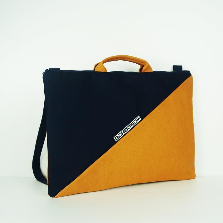 twinwow - 筆電文件手提/側背包 - 藍橘