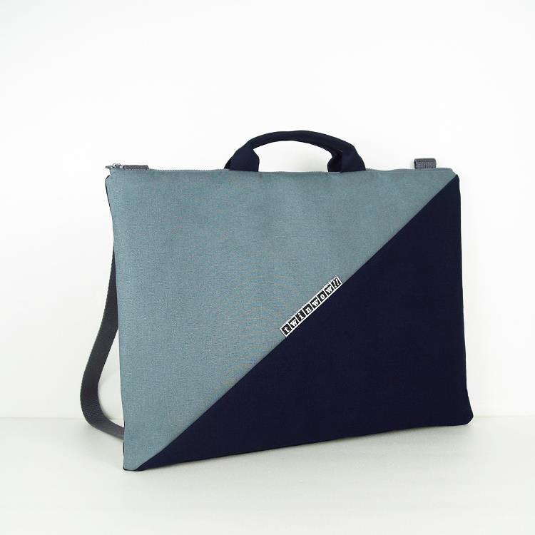 twinwow - 筆電文件手提/側背包 - 灰藍