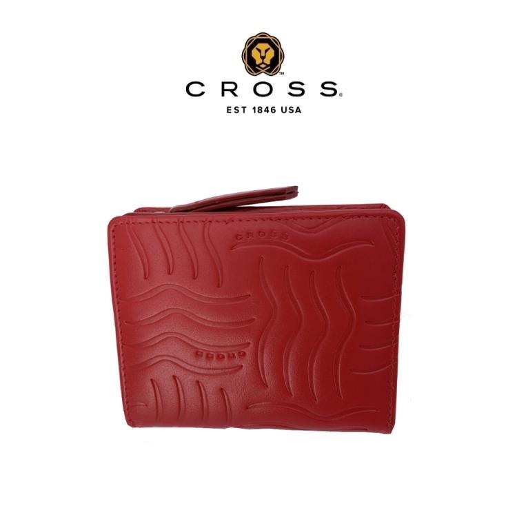 [美國百年精品CROSS] 特價 OUTLET平輸品 頂級NAPPA小牛皮女用短夾零錢包-紅色