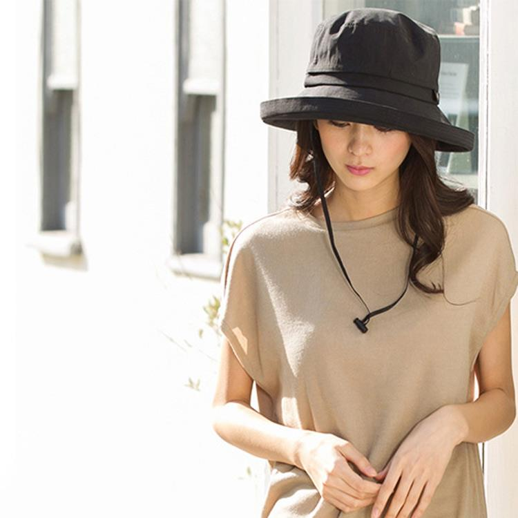 日本 QUEENHEAD 天然素材法式風情防曬帽7004黑色