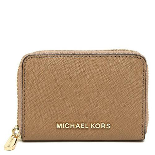 MICHAEL KORS 防刮皮革卡片零錢包-駝色(現貨+預購)