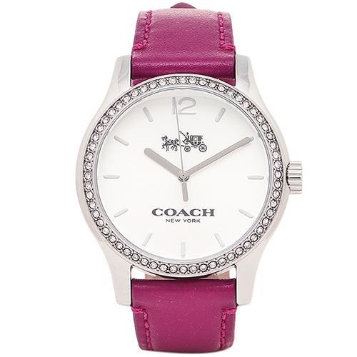 COACH 晶鑽鑲崁皮革腕錶-桃紅 (現貨+預購)