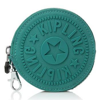 KIPLING圓形防水零錢包-湖水綠(現貨+預購)