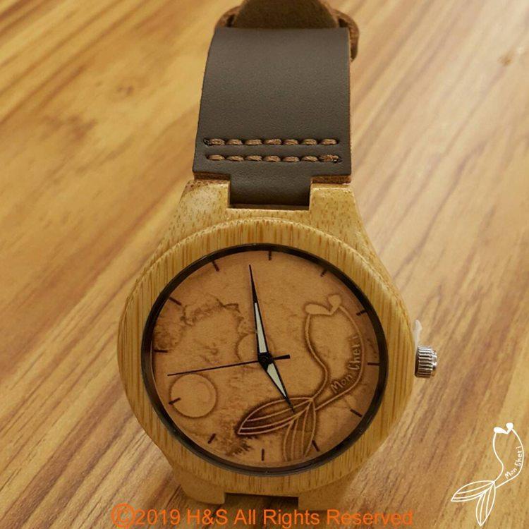 【Mon Cheri】木質真皮錶帶手錶