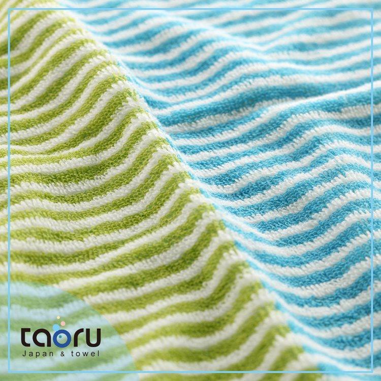 taoru【日本好心情毛巾/ 浴巾】雙色條紋_藍綠