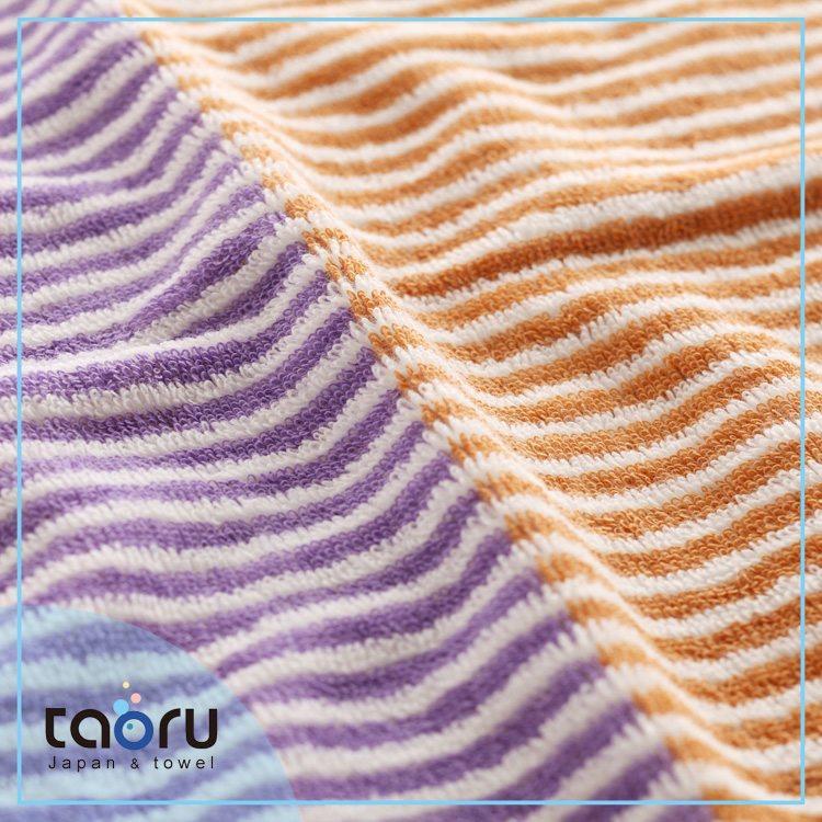 taoru【日本好心情毛巾/ 浴巾】雙色條紋_紫桔
