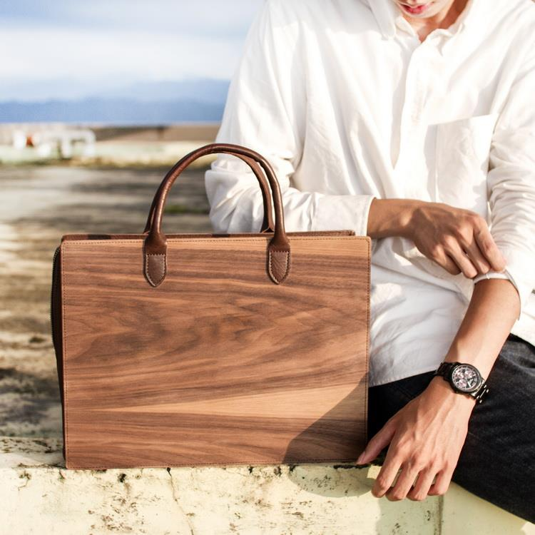 木皮革手提包