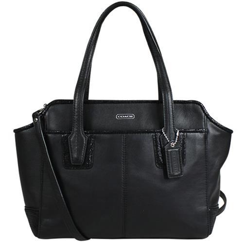 COACH 全皮手提/斜背船型小包-黑(現貨+預購)