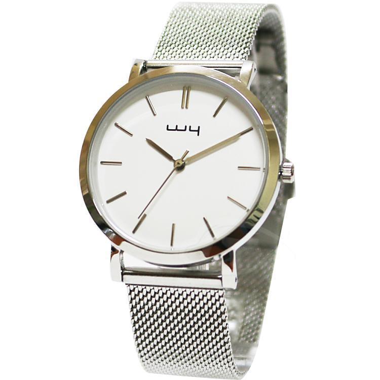 【WY威亞】簡約潮流米蘭銀帶中性錶-白
