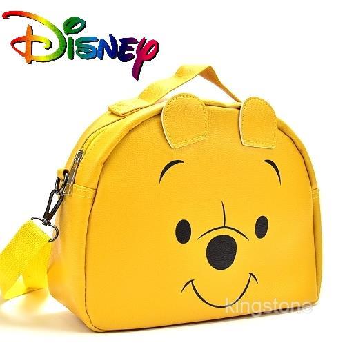 Disney【歡樂維尼】D字皮革背包